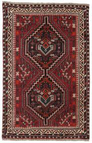 Shiraz Tapis 81X124 D'orient Fait Main Rouge Foncé/Marron Foncé (Laine, Perse/Iran)