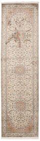 Cachemire Pure Soie Tapis 84X300 D'orient Fait Main Tapis Couloir Gris Clair/Blanc/Crème (Soie, Inde)