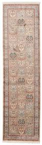 Cachemire Pure Soie Tapis 83X302 D'orient Fait Main Tapis Couloir Gris Clair/Beige (Soie, Inde)