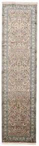 Cachemire Pure Soie Tapis 79X311 D'orient Fait Main Tapis Couloir Gris Clair/Gris Foncé (Soie, Inde)