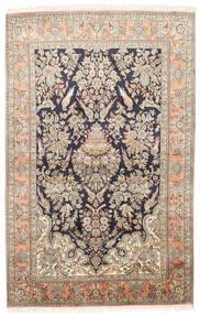 Cachemire Pure Soie Tapis 124X193 D'orient Fait Main Beige Foncé/Beige (Soie, Inde)