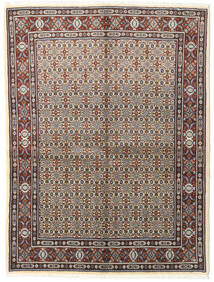 Moud Tapis 150X197 D'orient Fait Main Gris Clair/Marron Foncé (Laine/Soie, Perse/Iran)