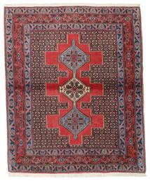 Senneh Tapis 127X154 D'orient Fait Main Marron Foncé/Rouge Foncé (Laine, Perse/Iran)