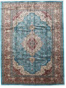 Cachemire Art. Soie Tapis 276X370 D'orient Fait Main Gris Clair/Noir Grand ( Inde)