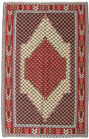 Kilim Senneh Tapis 127X202 D'orient Tissé À La Main Marron Foncé/Rouge Foncé (Laine, Perse/Iran)
