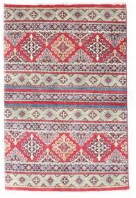Kazak Tapis 96X147 D'orient Fait Main Violet/Gris Clair (Laine, Afghanistan)