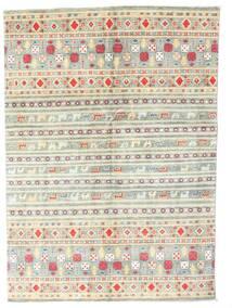 Kazak Tapis 142X199 D'orient Fait Main Beige/Gris Clair (Laine, Pakistan)