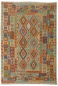 Kilim Afghan Old Style Tapis 206X295 D'orient Tissé À La Main Rouge Foncé/Marron Clair (Laine, Afghanistan)