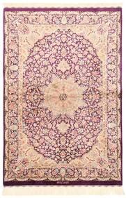 Ghom Soie Tapis 100X148 D'orient Tissé À La Main Beige/Rose Clair (Soie, Perse/Iran)