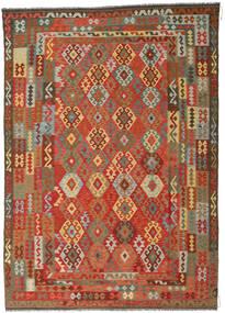 Kilim Afghan Old Style Tapis 246X349 D'orient Tissé À La Main Rouille/Rouge/Gris Foncé (Laine, Afghanistan)