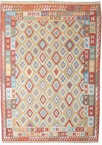 Kilim Afghan Old Style Tapis 206X294 D'orient Tissé À La Main Gris Clair/Rouge Foncé (Laine, Afghanistan)