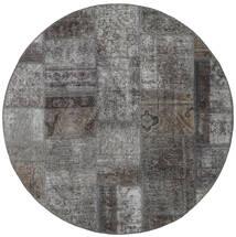 Patchwork - Persien/Iran Tapis Ø 150 Moderne Fait Main Rond Gris Foncé/Gris Clair (Laine, Perse/Iran)