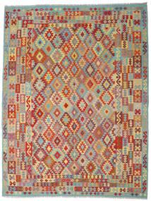 Kilim Afghan Old Style Tapis 267X348 D'orient Tissé À La Main Rouge Foncé/Gris Foncé Grand (Laine, Afghanistan)