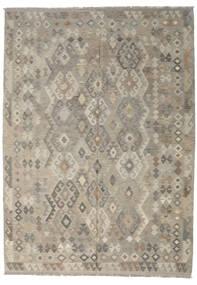 Kilim Afghan Old Style Tapis 213X296 D'orient Tissé À La Main Gris Clair/Vert Olive (Laine, Afghanistan)