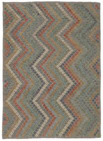 Kilim Afghan Old Style Tapis 213X285 D'orient Tissé À La Main Noir/Marron Foncé (Laine, Afghanistan)