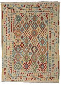 Kilim Afghan Old Style Tapis 255X352 D'orient Tissé À La Main Vert Olive/Marron Foncé Grand (Laine, Afghanistan)