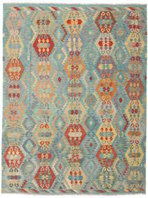 Kilim Afghan Old Style Tapis 259X337 D'orient Tissé À La Main Beige Foncé/Vert Clair Grand (Laine, Afghanistan)