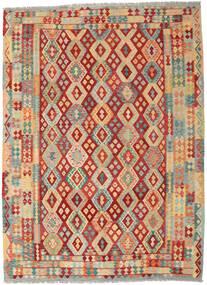 Kilim Afghan Old Style Tapis 252X344 D'orient Tissé À La Main Beige Foncé/Rouille/Rouge Grand (Laine, Afghanistan)