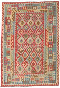 Kilim Afghan Old Style Tapis 216X307 D'orient Tissé À La Main Beige Foncé/Rouge Foncé (Laine, Afghanistan)