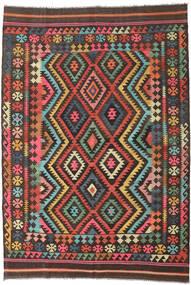 Kilim Afghan Old Style Tapis 210X303 D'orient Tissé À La Main Noir/Marron Foncé (Laine, Afghanistan)