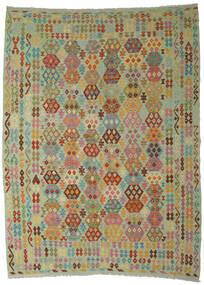 Kilim Afghan Old Style Tapis 250X350 D'orient Tissé À La Main Vert Clair/Marron Grand (Laine, Afghanistan)