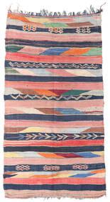 Berber Moroccan - Boucherouite Tapis 158X309 Moderne Fait Main Tapis Couloir Rose Clair/Bleu Foncé ( Maroc)