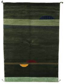Gabbeh Indo Tapis 139X202 Moderne Fait Main Vert Foncé (Laine, Inde)