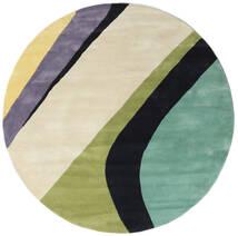 Dynamic Handtufted - Mint Tapis Ø 200 Moderne Rond Beige Foncé/Gris Foncé/Vert Pastel (Laine, Inde)