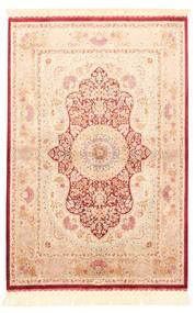 Ghom Soie Tapis 100X147 D'orient Tissé À La Main Beige/Rose Clair/Beige Foncé (Soie, Perse/Iran)