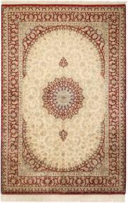 Ghom Soie Tapis 132X201 D'orient Fait Main Beige/Marron Clair (Soie, Perse/Iran)