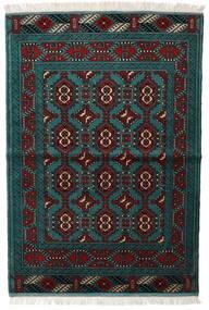 Turkaman Tapis 105X150 D'orient Fait Main Noir/Turquoise Foncé (Laine, Perse/Iran)
