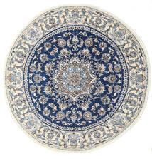 Naïn Tapis Ø 200 D'orient Fait Main Rond Gris Clair/Beige/Bleu Foncé (Laine, Perse/Iran)