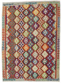 Kilim Afghan Old Style Tapis 175X239 D'orient Tissé À La Main Rouge Foncé/Gris Clair (Laine, Afghanistan)