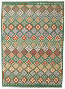 Kilim Afghan Old Style Tapis 209X288 D'orient Tissé À La Main Vert Foncé/Beige Foncé (Laine, Afghanistan)