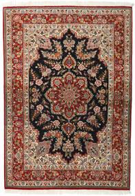 Ghom Kork/Soie Tapis 143X203 D'orient Fait Main Marron Foncé/Marron Clair (Laine/Soie, Perse/Iran)