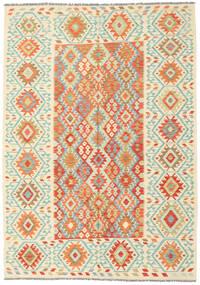 Kilim Afghan Old Style Tapis 204X290 D'orient Tissé À La Main Beige/Orange (Laine, Afghanistan)
