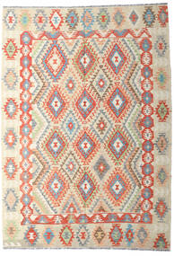 Kilim Afghan Old Style Tapis 202X287 D'orient Tissé À La Main Beige Foncé/Beige (Laine, Afghanistan)