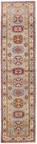 Kazak Tapis 86X349 D'orient Fait Main Tapis Couloir Marron Clair/Gris Clair (Laine, Afghanistan)
