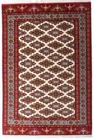 Turkaman Tapis 140X203 D'orient Fait Main Rouge Foncé/Jaune (Laine, Perse/Iran)