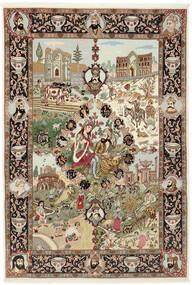 Tabriz 50 Raj Tapis 150X219 D'orient Fait Main Marron/Marron Clair (Laine/Soie, Perse/Iran)