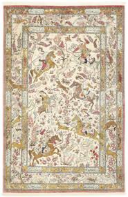 Ghom Soie Tapis 132X203 D'orient Fait Main Beige/Beige Foncé (Soie, Perse/Iran)