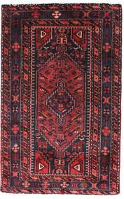 Hamadan Tapis 90X140 D'orient Fait Main Noir/Rouge Foncé (Laine, Perse/Iran)