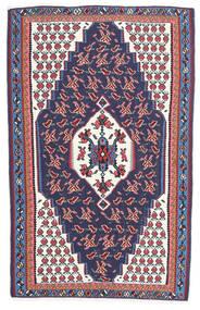 Kilim Senneh Tapis 110X165 D'orient Tissé À La Main Gris Foncé/Violet Foncé (Laine, Perse/Iran)