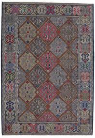 Kilim Afghan Old Style Tapis 204X298 D'orient Tissé À La Main Gris Foncé/Noir (Laine, Afghanistan)