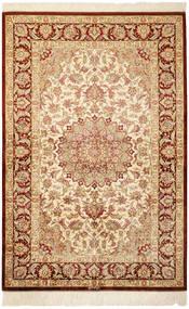 Ghom Soie Tapis 100X150 D'orient Fait Main Beige/Beige Foncé (Soie, Perse/Iran)