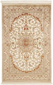 Ghom Soie Tapis 99X152 D'orient Fait Main Beige/Beige Foncé (Soie, Perse/Iran)