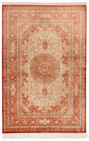 Ghom Soie Tapis 130X197 D'orient Fait Main Marron Clair/Rouge (Soie, Perse/Iran)