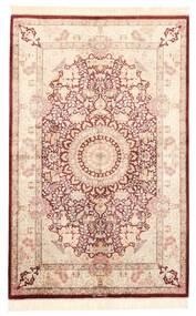 Ghom Soie Tapis 100X155 D'orient Fait Main Rose Clair/Marron Foncé (Soie, Perse/Iran)