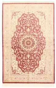 Ghom Soie Tapis 132X201 D'orient Fait Main Beige/Rose Clair (Soie, Perse/Iran)