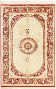 Ghom Soie Tapis 134X197 D'orient Fait Main Beige/Rouge (Soie, Perse/Iran)